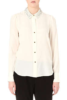 JUICY COUTURE Embellished-collar silk shirt