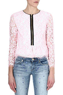 JUICY COUTURE Lace peplum-waist jacket