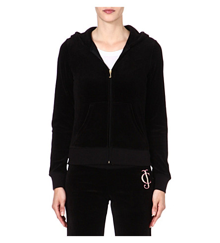 JUICY COUTURE Original Ornate velour hoody (Black