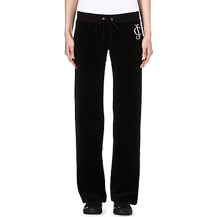 JUICY COUTURE Diamante velour jogging bottoms (Black