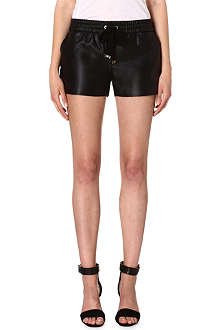 JUICY COUTURE Faux-leather track shorts