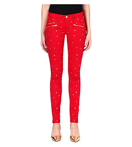 JUICY COUTURE Embellished skinny mid-rise jeans (Poppy