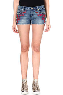 JUICY COUTURE Embroidered mid-rise denim shorts