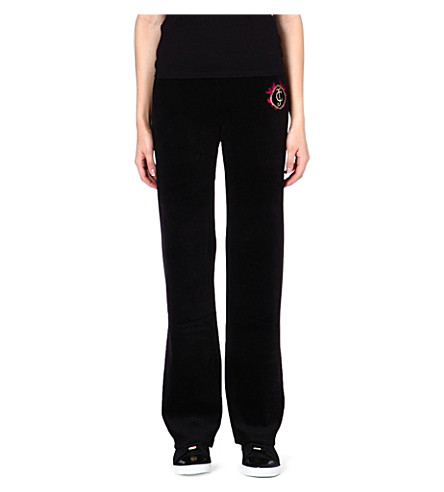 JUICY COUTURE Cotton-blend jogging bottoms (Black