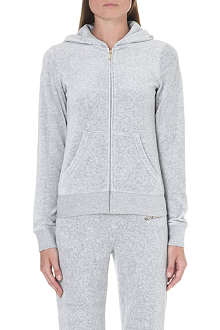 JUICY COUTURE Branded velour zip-through hoody