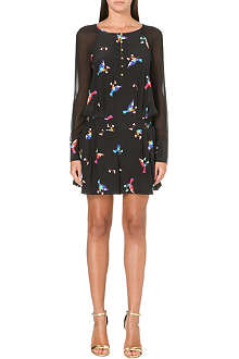 JUICY COUTURE Lovebird print silk playsuit