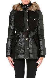 JUICY COUTURE Quilted fur trim puffer jacket