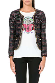 JUICY COUTURE Cropped chain-link tweed jacket