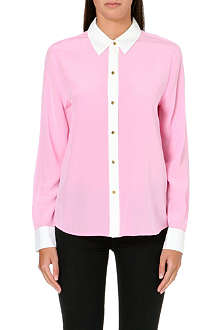 JUICY COUTURE Block-coloured silk shirt
