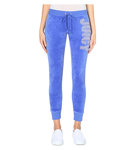 JUICY COUTURE Embellished branded velour jogging bottoms (Bright sapphire