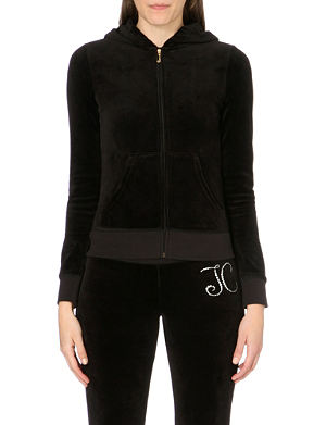 JUICY COUTURE Original jewelled floral velour hoody