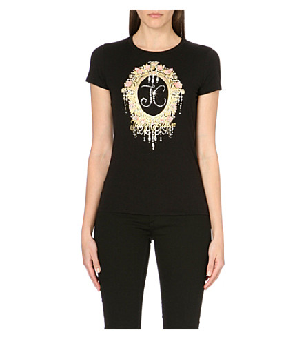 JUICY COUTURE Floral jewel cotton-jersey t-shirt (Black