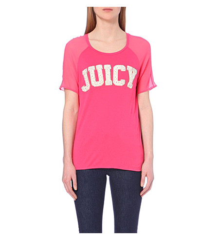 JUICY COUTURE Sheer-sleeved raglan embellished t-shirt (Azalea