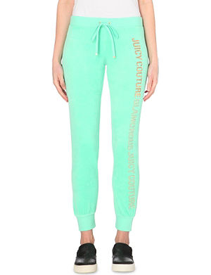 JUICY COUTURE Embellished velour jogging bottoms