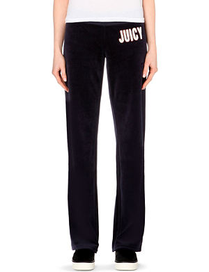 JUICY COUTURE Logo island blooms velour jogging bottoms