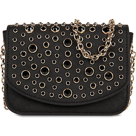 JUICY COUTURE Saffiano leather embellished mini bag (Black
