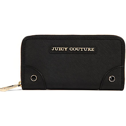 JUICY COUTURE Saffiano leather continental wallet (Black