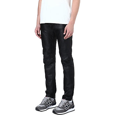 G STAR Raw Essentials leather 5620 loose-fit tapered jeans (Black