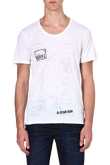 G STAR Zip-print cotton t-shirt
