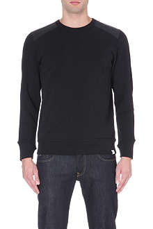 G STAR Leather-panel jersey sweatshirt