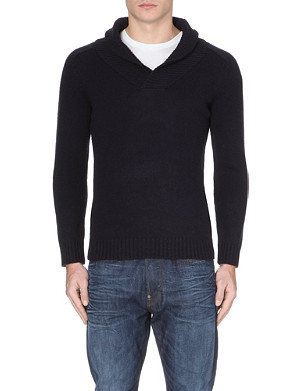 G STAR Shawl-collar knitted jumper