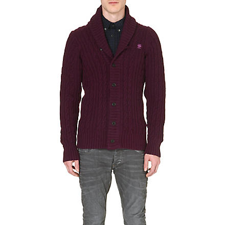 G STAR Cable-knit cardigan (Aubergine