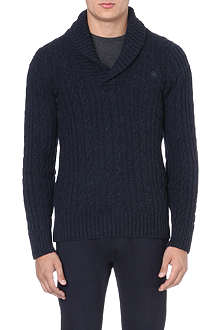 G STAR Shawl-neck knitted jumper