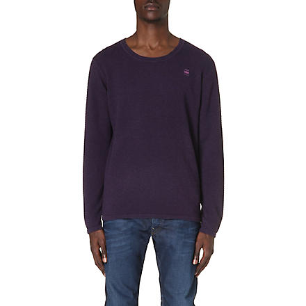 G STAR Logo detailed knitted jumper (Aubergine