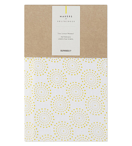 MAKERS FOR SELFRIDGES Dotted linen tea towel