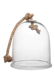 ONE WORLD Small glass cloche with rope handle 34cm