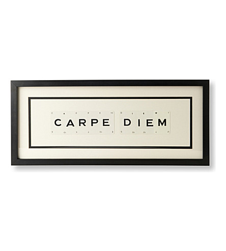 VINTAGE PLAYING CARDS Carpe Diem framed picture 9x12