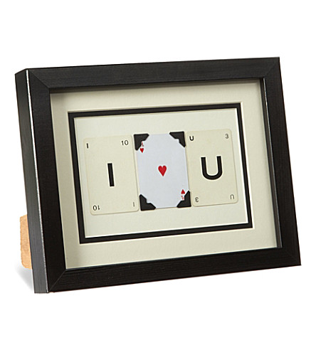 VINTAGE PLAYING CARDS I Heart U mini frame
