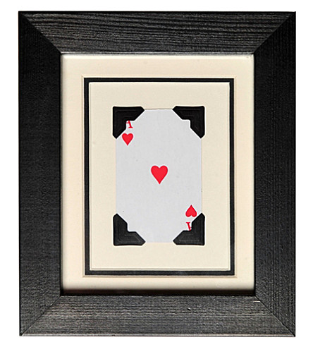 VINTAGE PLAYING CARDS Mini Heart framed picture 6x5