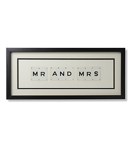 VINTAGE PLAYING CARDS Mr and Mrs framed picture 8x20