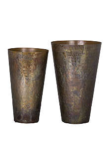BROSTE Lassi antique copper-plated iron vase 21cm