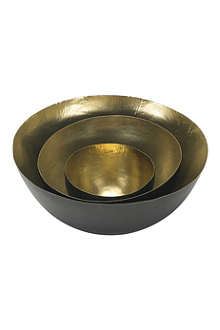 TOM DIXON Set of three small brass Form bowls