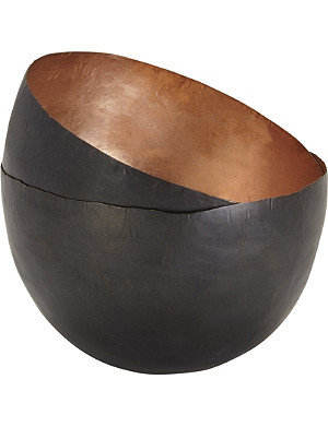 TOM DIXON Set of two tall copper Form bowls