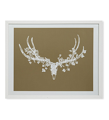 EAST END PRINTS Stag head gold print by framed