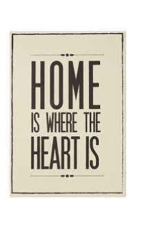 'Home where heart is' wooden wall art