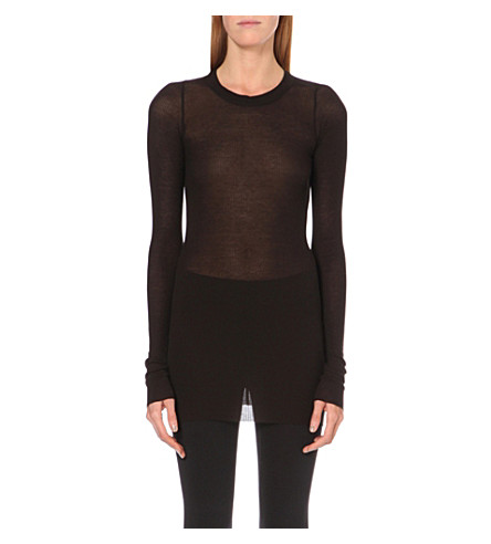 RICK OWENS Ribbed jersey top (Black