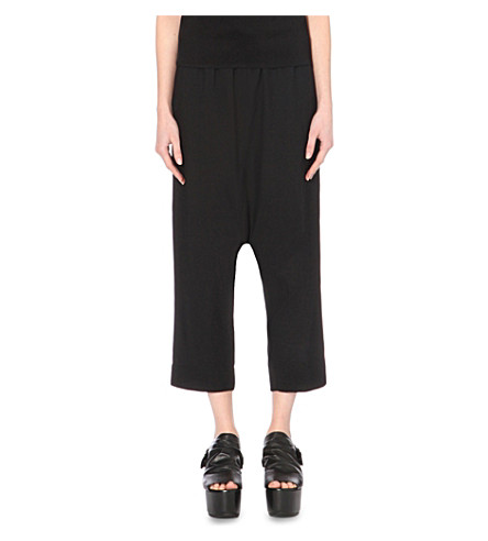 RICK OWENS Cropped crepe trousers (Black