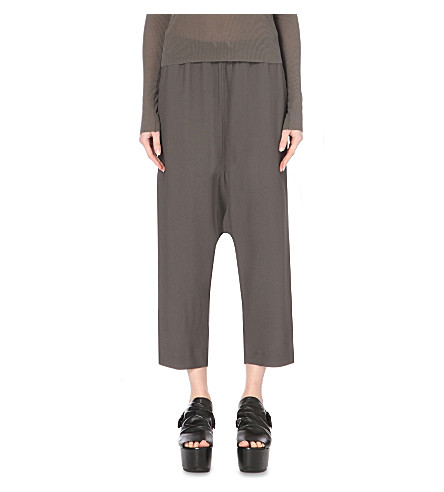 RICK OWENS Cropped crepe trousers (Dark+dust