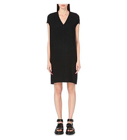 RICK OWENS V-neck crepe tunic dress (Black