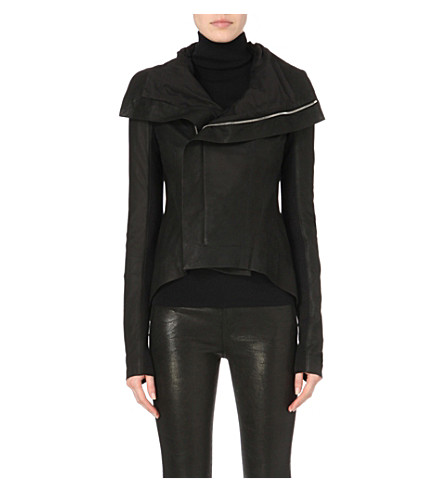 RICK OWENS Tail-back leather biker jacket (Black
