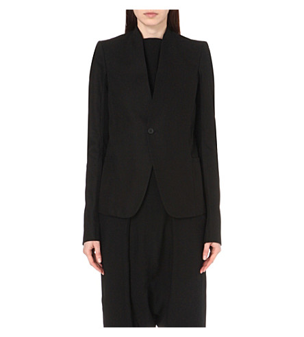 RICK OWENS Collarless cotton suit jacket (Black