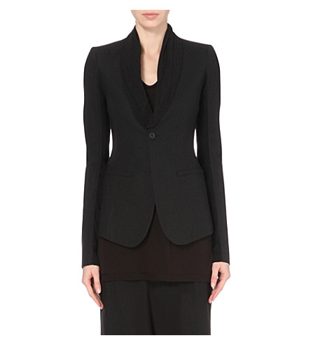 RICK OWENS Stretch-wool blazer jacket (Black