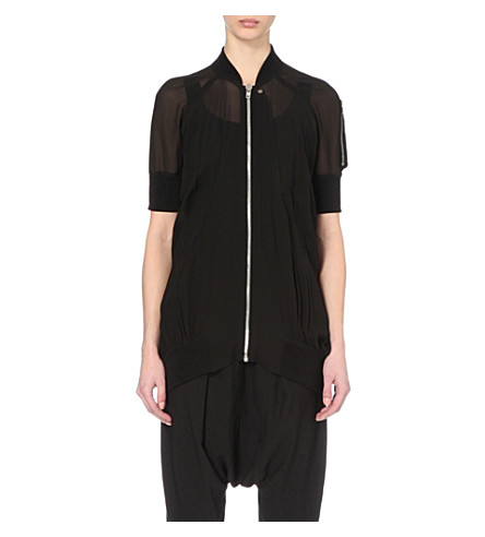RICK OWENS Semi-sheer silk and chiffon-blend jacket (Black