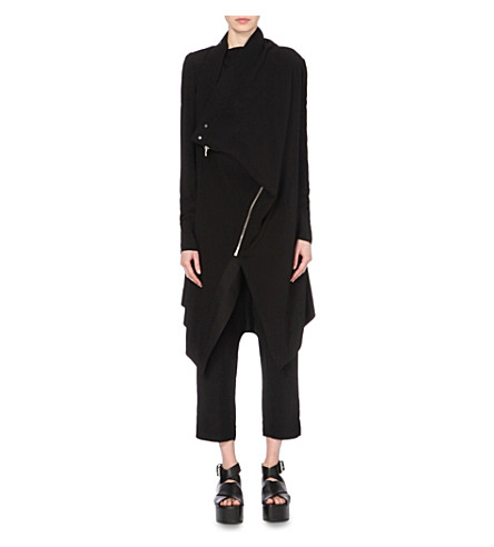 RICK OWENS Long-length crepe biker coat (Black