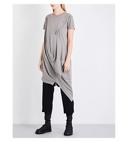 DRKSHDW Asymmetric cotton-jersey top (Grey