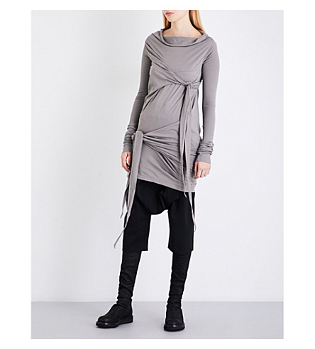 DRKSHDW Knotted cotton-jersey top (Grey